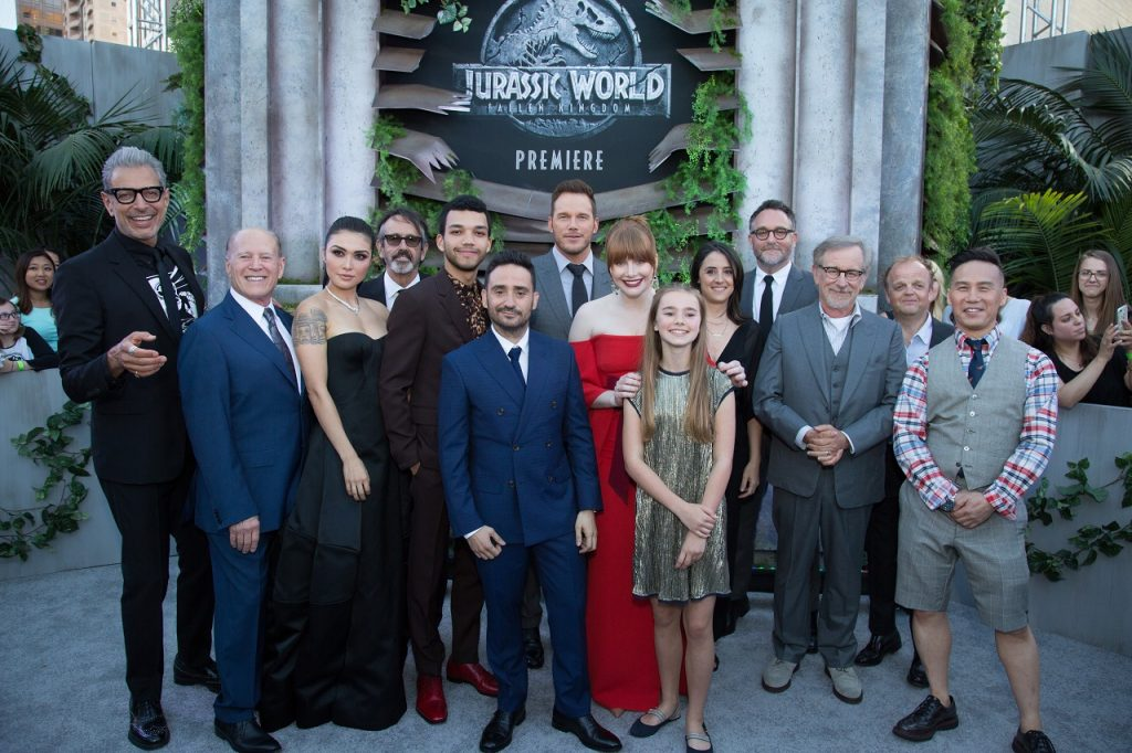 Jeff Goldblum, Frank Marshall, Daniella Pineda, Patrick Crowley, Justice Smith, J.A Bayona, Chris Pratt, Bryce Dallas Howard, Isabella Sermon, Belen Atienza, Colin Trevorrow, Steven Spielberg, Toby Jones and B.D. Wong pose together as Universal Pictures and Amblin Entertainment present the premiere of Jurassic World: Fallen Kingdom at the Walt Disney Concert Hall in Los Angeles, CA on Tuesday, June 12, 2018 (Photo:Alex J. Berliner/ABImages)